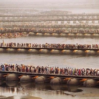 Kumbh Mela. Waiting to bathe in the Ganges