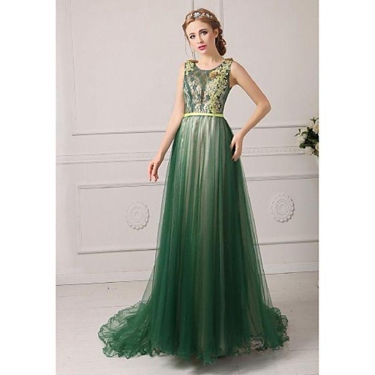 Australia Formal Evening Dress Dark Green Royal Blue Fuchsia Regency Jade Plus Sizes Dresses Petite A-line Jewel Court Train Tulle Formal Dress Australia #formaldresses #greenformaldresses #greendresses