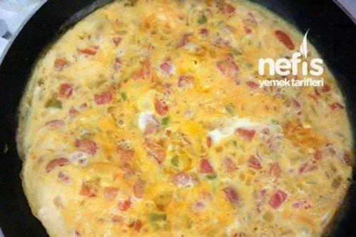 Menemen Yapımı Tarifi 1 adet orta boy soğan 2 adet yeşil biber 1 adet kırmızı biber 2 adet orta boy domates 2adet  yumurta Tuz Menemen Yapımı Tarifi'nin Yapılışı Soğan ile biberler küçük küçük doğranır. Az yağda kavrulur. Üzerine küp küp doğranmış domates eklenir. Domatesin de diriliği gittikten sonra çırpılmış yumurta da eklenir. Kapak kapatılarak pişirilir. Afiyet olsun.
