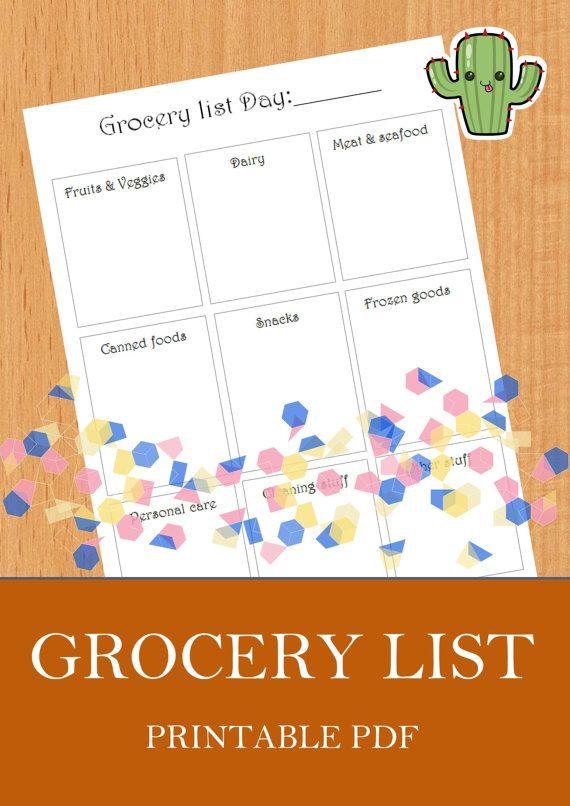Grocery list day organization pdf printable instant download Organizing di LifeOrganized4Succes su Etsy