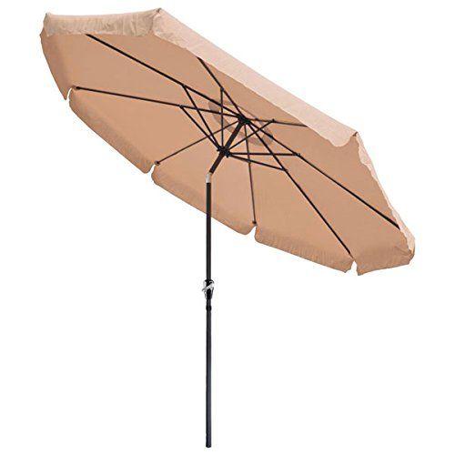 Yescom Aluminum Outdoor Patio Umbrella W/ Crank Tilt Deck Market Yard Beach  Pool Cafe (Beige)