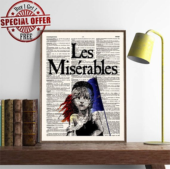 Les Miserables Poster -Cosette with Flag- Victor Hugo- Dictionary Decor- Book Poster- Movie- Buy 1 get 1 FREE- Wall Decor- code 430 by demeraki on Etsy
