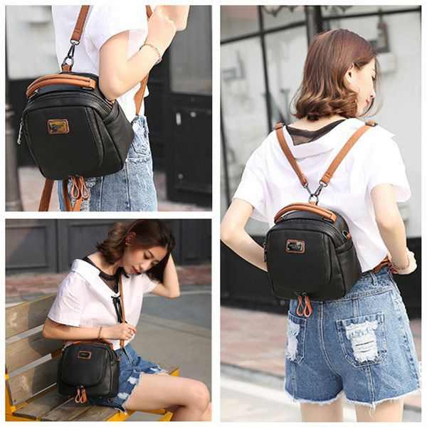 Women Genuine Leather Handbags Multifunction Travel Backpack