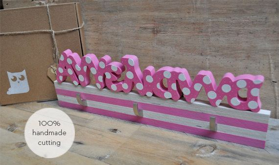 Kids hanger for children's room with name on it   by mywoodydinner