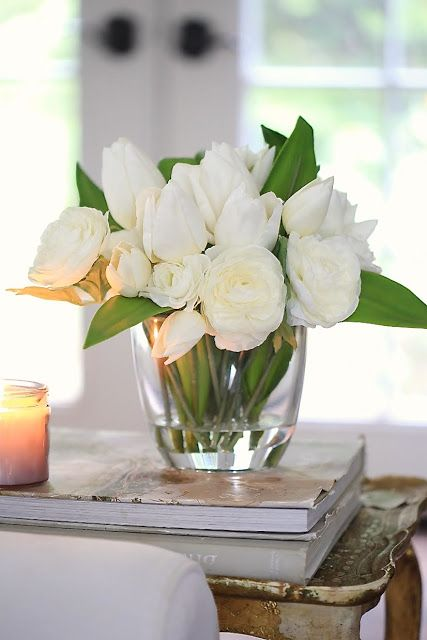 Beautiful White Tulip & Ranunculus Flower Arrangement for a graceful touch.