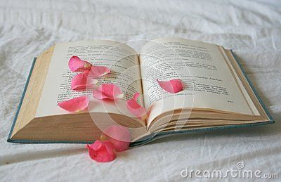 An open book on a bed