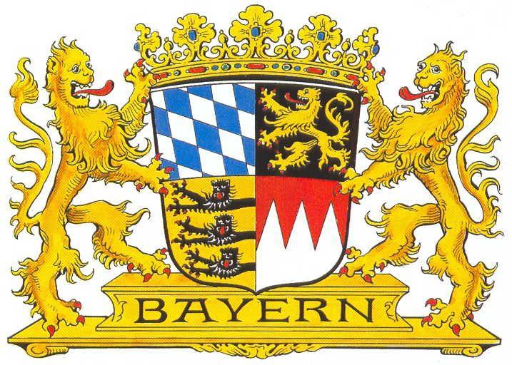 Bayerisches Staatswappen - Die Symbole im Zentrum haben folgende Bedeutung:   http://www.stmi.bayern.de/buerger/staat/wappen/