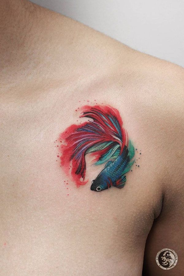 Goldfish Tattoo For Men By Deborah Genchi Bari Italy Watercolor Fish Tattoo Tattoos Betta Fish Tattoo