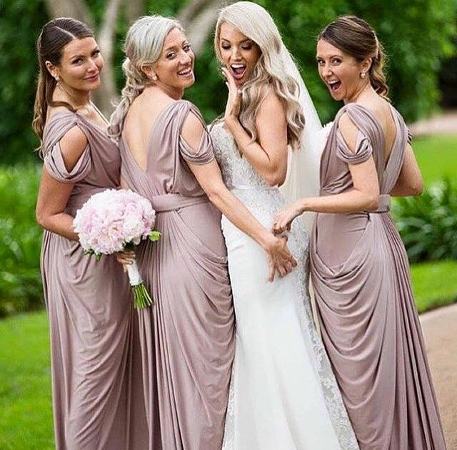 Beautiful Pia Gladys Perey Darla gown worn in Rosy Latte. Stunning ladies, available now at Nora and Elle Bridesmaids.