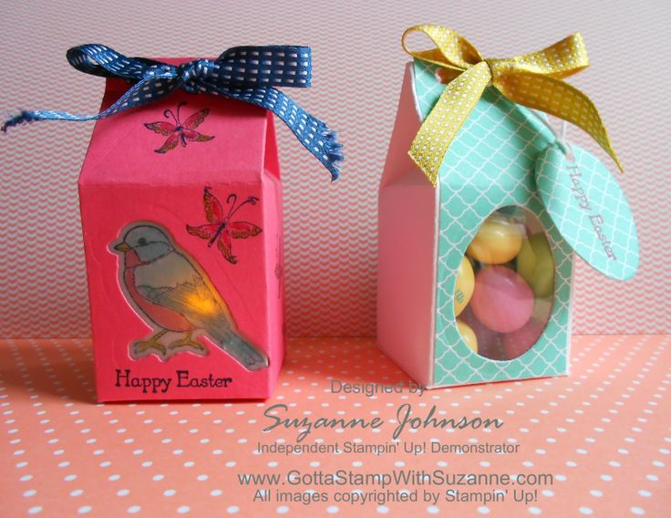Stampin Up In Colors Mini Milk Carton Die Easter Treat Boxes With Windows