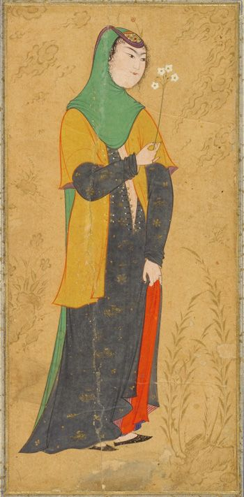 Woman with a spray of flowers | ca. 1595, Safavid period | Opaque watercolor and gold on paper; H: 30.3 W: 18.6 cm; Isfahan, Iran
