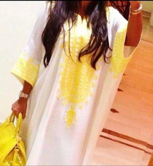 Image via We Heart It https://weheartit.com/entry/126338892/via/2446307 #arab #bag #celine #dress #hair #long #lovely #moroccan #yellow #kaftan #jeleba #ouassimaouas
