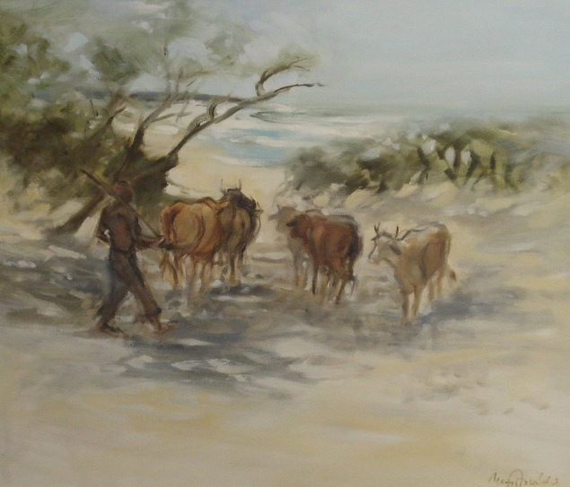 Mary Fowlds Cattle on the beach in the Transkei