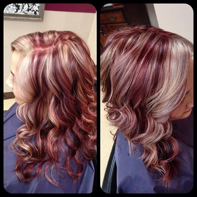 Cool ice blonde with raspberry color