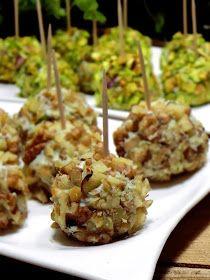 Serowe kuleczki w orzechach,karnawałowe przekąski,przepisy na karnawał,szybkie przekąski,ser w pistacjach,gorgonzola-przepisy,pistacje przepisy,orzechy włoskie,twaróg