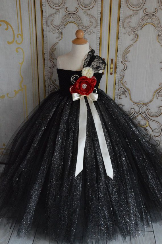Black Red and Ivory flower girl Tutu Dress by TutuSweetBoutiqueINC, $70.00