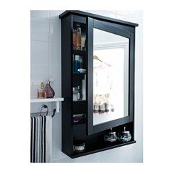 """HEMNES Mirror cabinet with 1 door, black-brown stain - 24 3/4x6 1/4x38 5/8 """" - IKEA"""