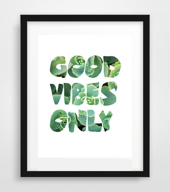 Good Vibes Only Inspirational Print Motivational Wall by Ikonolexi