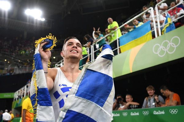 Eleftherios Petrounias of Greece celerbates winning the gold medal in the Men's Rings on day 10 of the Rio 2016 Olympic Games at Rio Olympic Arena on August 15, 2016 in Rio de Janeiro, Brazil.