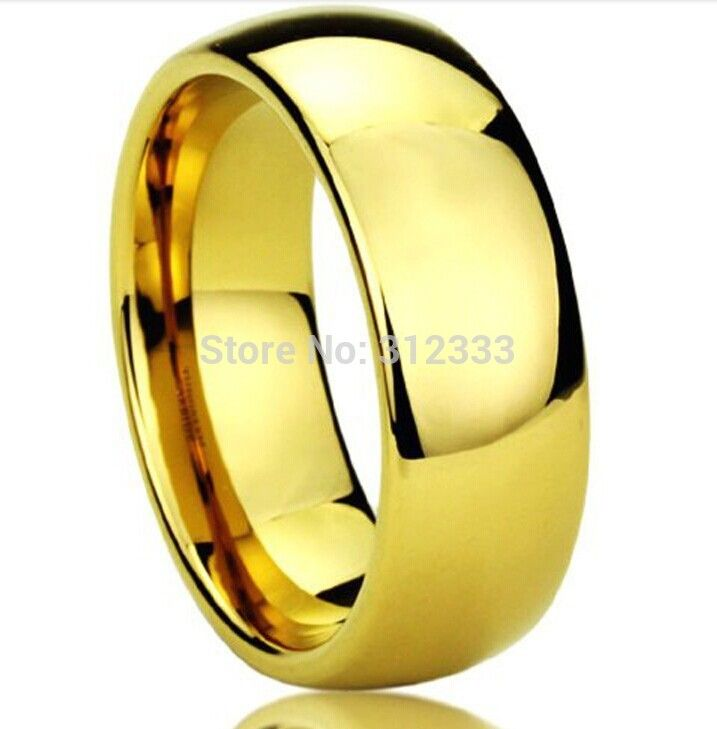 Never fading Classic Wedding rings 8mm 24K yellow Gold filled 316L Titanium steel rings for men
