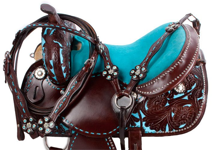 Dark Oil Turquoise Barrel Horse Western Saddle Tack 15 16