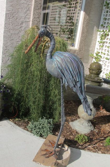 I call this Heron, Misha Its made with wire, tinfoil and a t-shirt