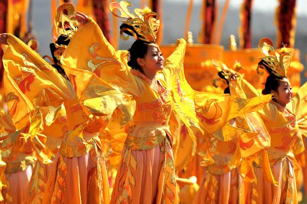Dancers perform during a ceremony to honor Huangdi, the Yellow Emperor, in Huangling county of Northwest China's Shaanxi province.