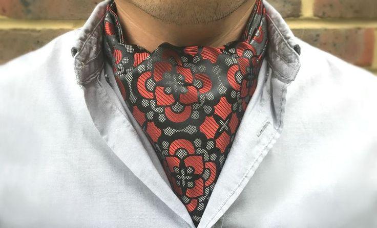 CLANCY Woven Silk Cravat  #menswear #style #cravat #ascot #cravats #silkcravat #ascottie #ascots #silkascot #silkcravats #mens #fashion #dapper #dandy #groom #wedding #groomswear #weddingidea #weddinginspiration #red #grey #black #botanical #floral
