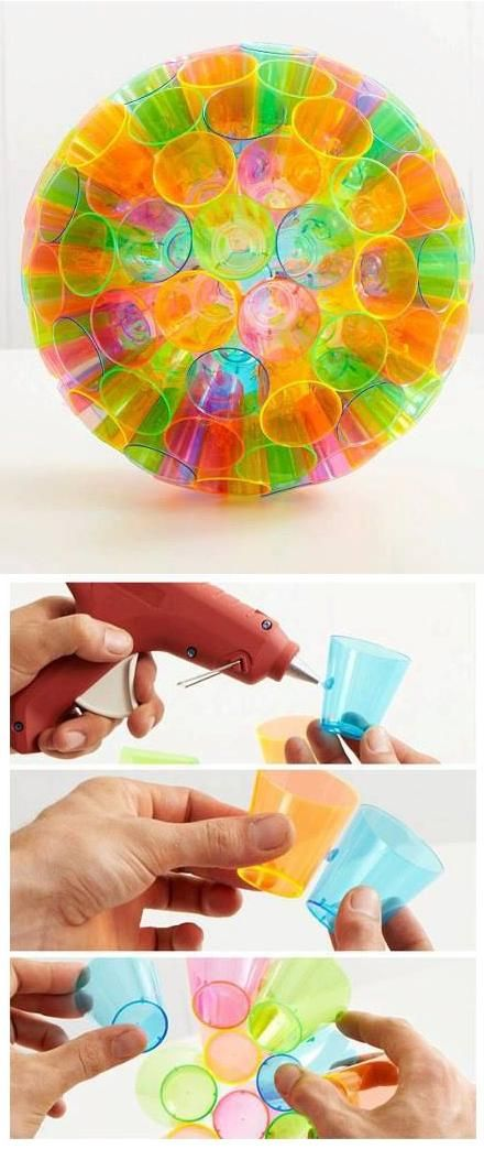 Make a Colorful Lampshade By Plastic Cups use Christmas colors and lights for an outdoor Christmas decoration