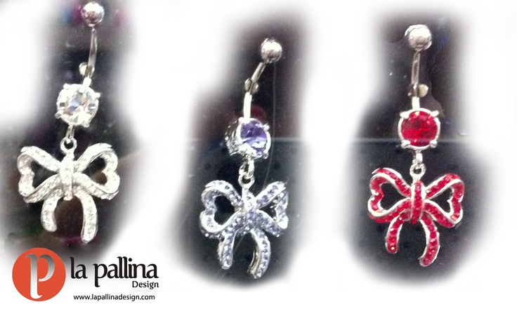 Piercing ombelico: fiocco con strass - Belly button / navel piercing: bow with rhinestones