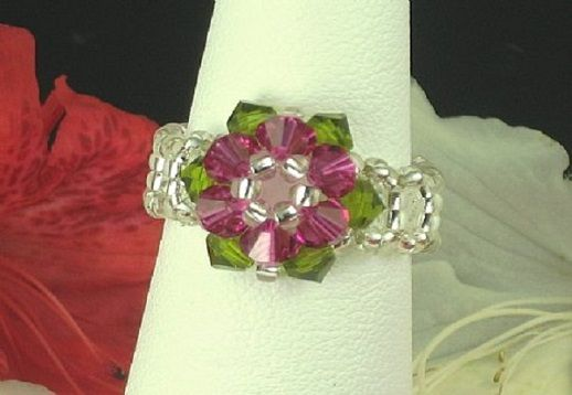 Simple Crystal Flower Ring - Uses bicone Crystals & Seed Beadsg