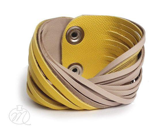 Leather bracelet lemon yellow & beige TWISTed by Mikashka on Etsy,