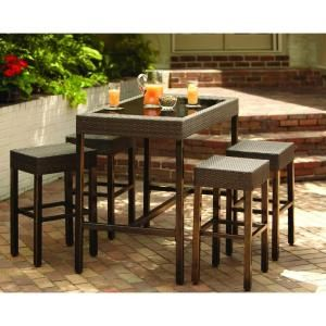 Hampton Bay Tacana 5 Piece Patio High Bar Dining Set S0406014 S0105015 At