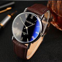 2015 moda de lujo Blue Ray romanos número análogo de cuarzo del reloj para hombre, banda de cuero relojes hombres del reloj del deporte piel(China (Mainland))