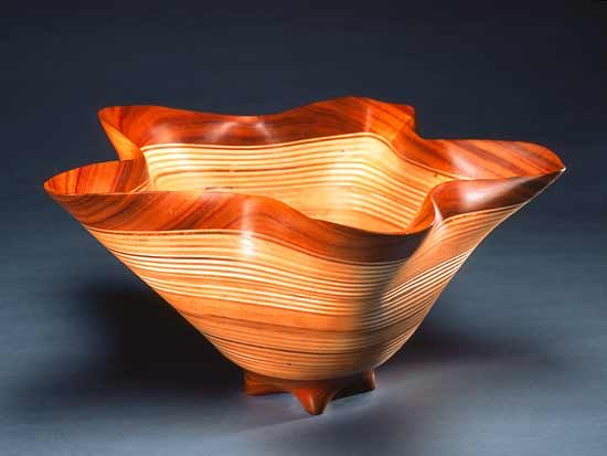 Star Bowl by Kerry Vesper  Small sculptural bowl handcrafted from layered canary and baltic birch.