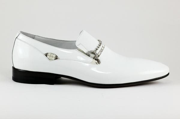 Rina's Couture - Our own Brand of Men's #Footwear - SS2014 - White Patent #Leather Loafer/Tuxedo Dress #Shoes with #Sparkling Buckle. #MadeinItaly available at Rina's Boutique  See the whole collection of #SS2014 & older editions of our #men's #shoe's at http://www.rinastore.com/men-rinas-couture/