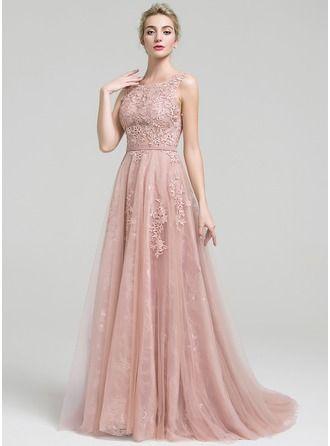 Vestidos princesa/ Formato A Decote redondo Cauda de sereia Tule Renda Vestido de festa com Beading