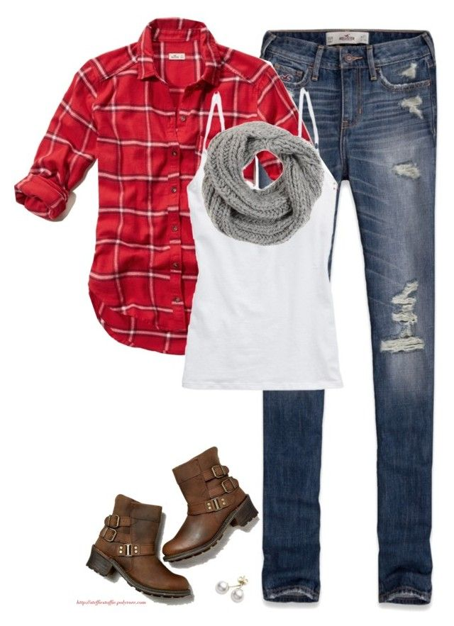 """""""Red plaid, Gray scarf & Ripped denim"""" by steffiestaffie ❤ liked on Polyvore featuring Hollister Co., Aerie, American Eagle Outfitters, Mikimoto and KISS by Fiona Bennett"""