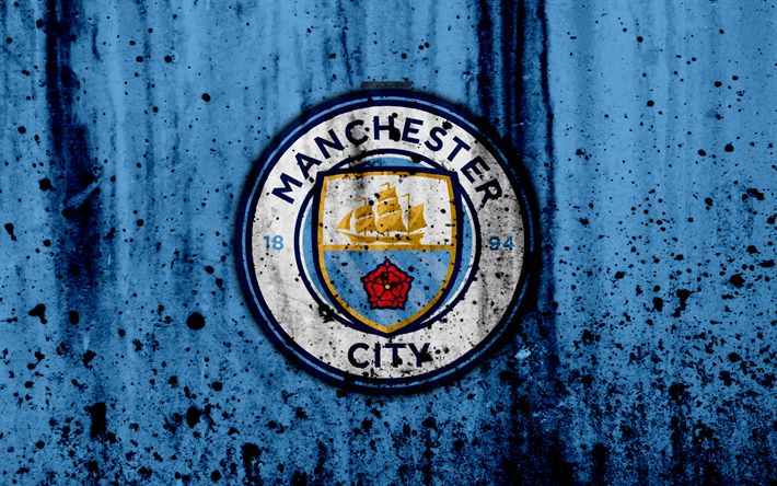 Download wallpapers FC Manchester City, 4k, Premier League, new logo, England, soccer, football club, Man City, grunge, Manchester City, art, stone texture, Manchester City FC