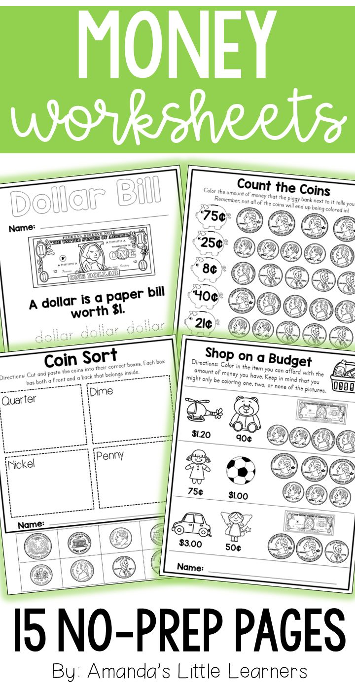 Learning money worksheets for first grade