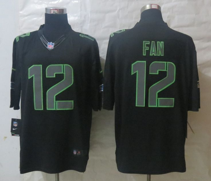 Nike Seattle Seahawks 12 Fan Impact Limited Black Jerseys 29b84d36b