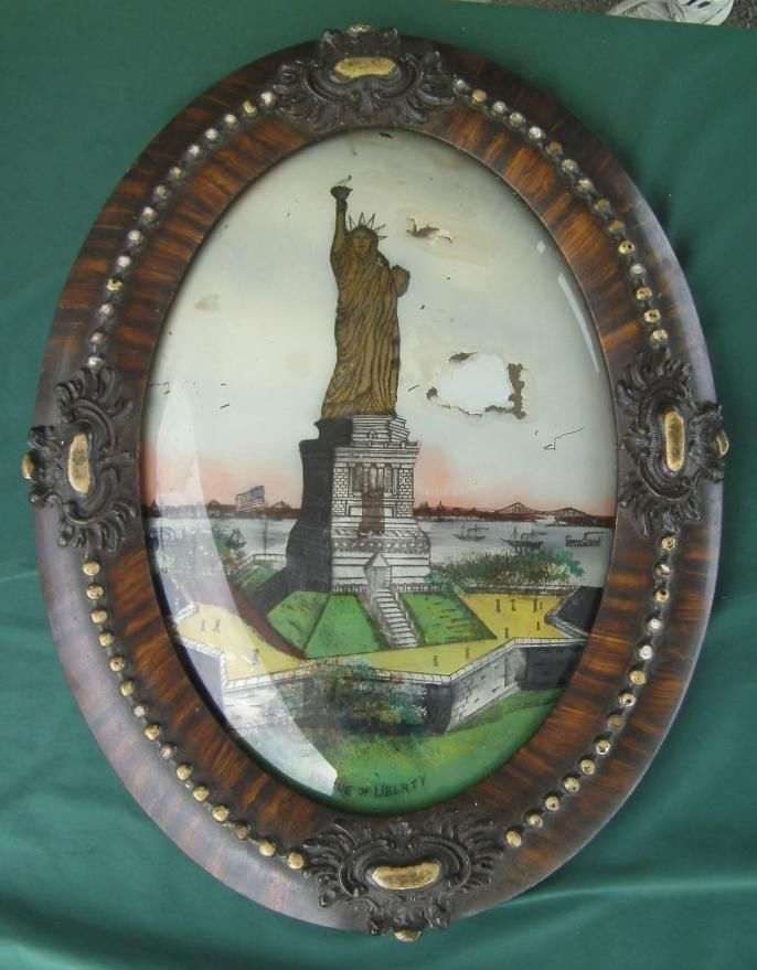 reverse painting convex bubble glass gold frame statue of liberty new york ny statue of statue of liberty and gold frames