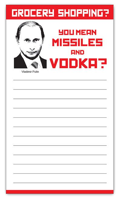 Russia Putin Funny Magnetic Grocery Shopping List Prank Note by Guajolote Prints #GuajolotePrints #Christmas
