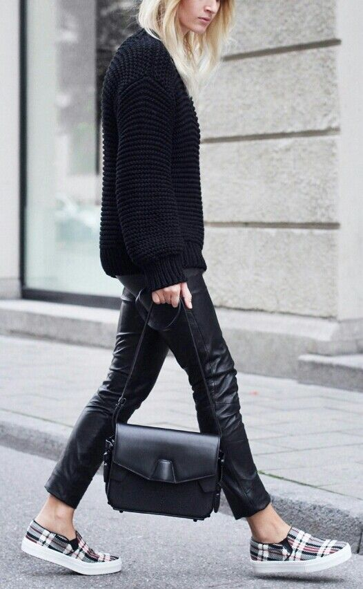 Chunky knit, leather pants, #celine tartan slip ons = perfect outfit