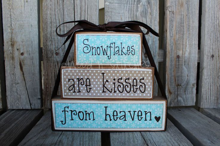 Primitive SNOWFLAKES are kisses from heaven Wood Block Stacker winter christmas snowflakes snowmen personalized  set sign primitive. $20.95, via Etsy.