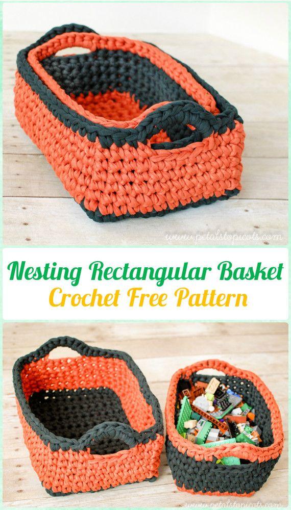 Crochet Storage Basket Nesting Rectangular Basket Free Pattern