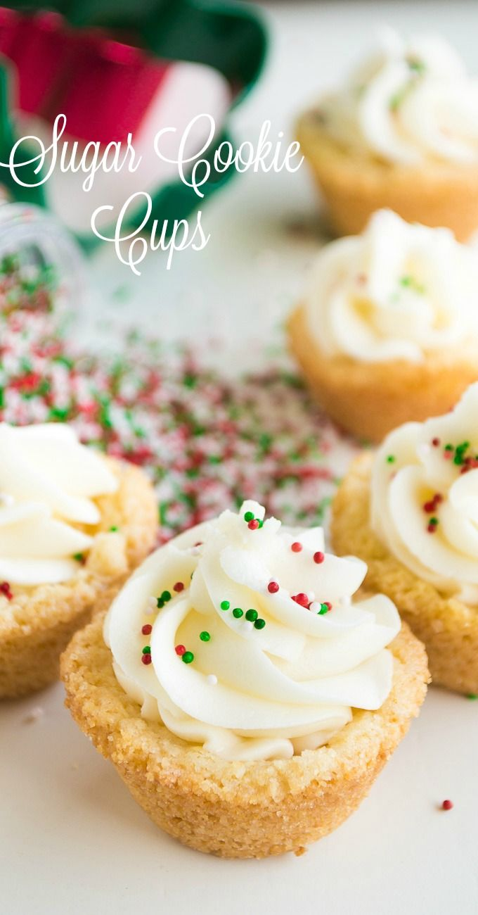 Sugar Cookie Cups! EASY to make cookie cups topped with a smooth and creamy SUGAR COOKIE FROSTING! Perfect Christmas treat. Festive Flavors. Spon by @InDelight @LoveMySilk, @Target