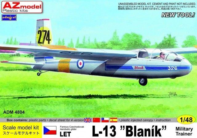 Let L-13 Blaník, Military Trainer. Admiral, 1/48, rebox 2013 (ex Admiral 2013 No.4803, changed decals), No.4804. Price: 15,09 EUR (marketplace).