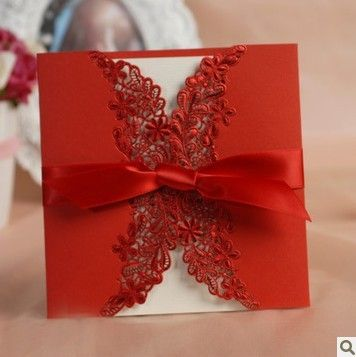 Luxury Vintage Totem Laser Cut red lace Wedding invitation Card with ribbon free printing Envelopes and Seal, wedding favors(China (Mainland))