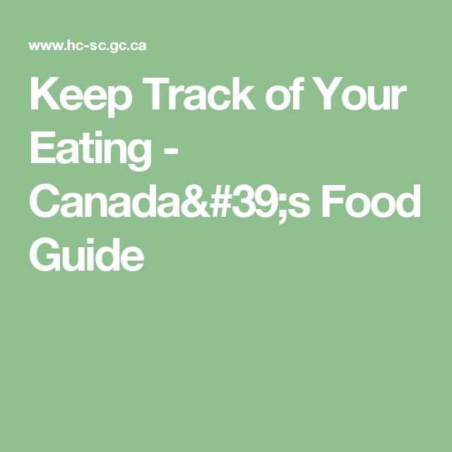 Keep Track of Your Eating - Canada's Food Guide